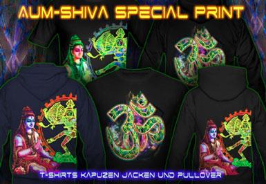 Aum Shiva T-Shirts und Kapuzenpullover mit Schwarzlicht Neon Farbdruck
