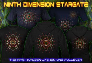 Ninth Dimension Stargate T-Shirts und Kapuzenpullover mit Schwarzlicht Neon Farbdruck