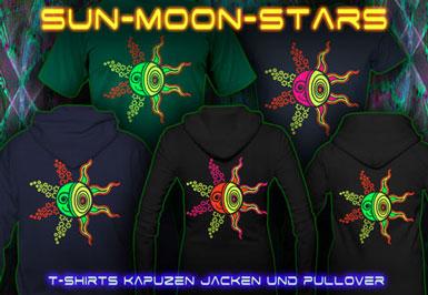 Sun Moon Stars T-Shirts und Kapuzenpullover mit Schwarzlicht Neon Farben Druck