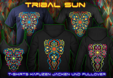 Tribal Sun T-Shirts und Kapuzenpullover mit Schwarzlicht Neon Farbdruck