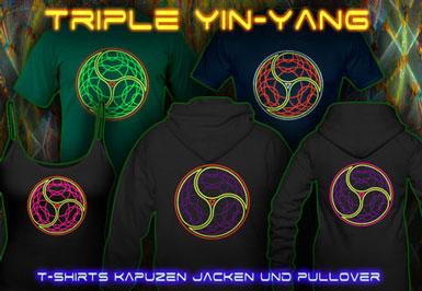 Triple Yin Yang T-Shirts und Kapuzenpullover mit Schwarzlicht Neon Farbdruck