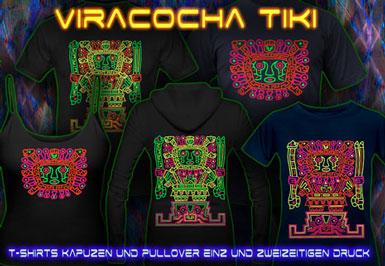 Viracoha Tiki | Psy T-Shirts und Kapuzenpullover mit Schwarzlicht Neon Farbdruck