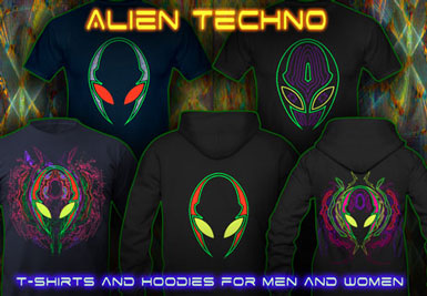 Alien Techno T-Shirts and hoodies with a black-light reactive neon color print