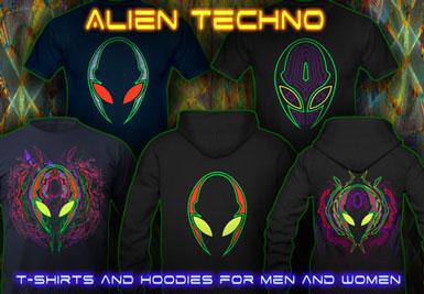 T-Shirts lumière noire | Alien Techno T-shirts et vestes à capuches avec une fluorescent impression de couleur néon