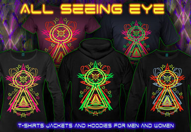 All Seeing Eye T-Shirts and hoodies with a black-light reactive neon color print