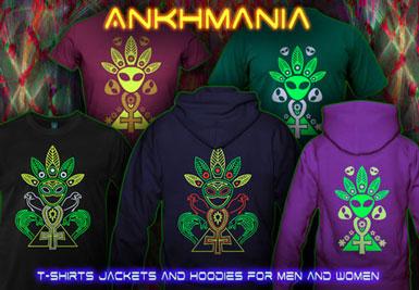 Ankhmania Ankh Pyramid T-shirts et vestes à capuches avec une lumière noire réactive impression couleur de néon