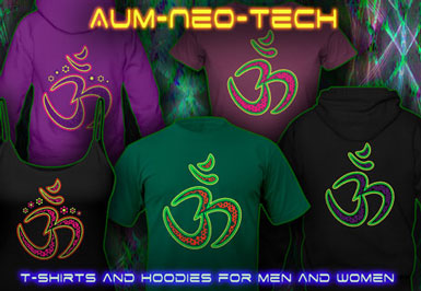Chemise Psychédélique | Aum Neo Tech T-shirts et vestes à capuches avec une lumière noire réactive impression couleur de néon