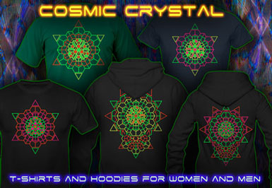 Cosmic Crystal Psytrance T-Shirts and hoodies with a black-light reactive neon color print