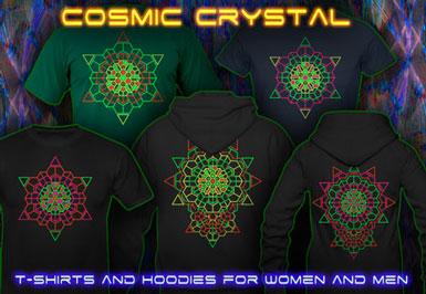 Chemise Psychédélique | Cosmic Crystal T-shirts et vestes à capuches avec une lumière noire réactive impression couleur de néon