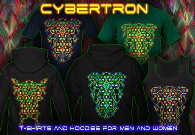 Cybertron Maze T-Shirts and hoodies with a black-light reactive neon color print