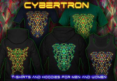 Cybertron Maze T-shirts et vestes à capuches avec une lumière noire réactive impression couleur de néon