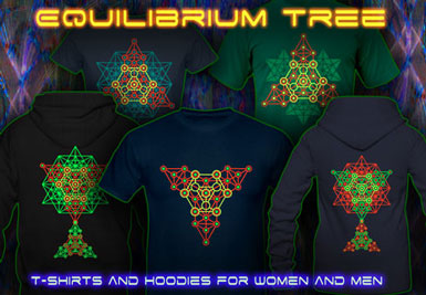 Equilibrium T-Shirts and hoodies with a black-light reactive neon color print