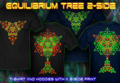 Equilibrium Duplex Printed T-Shirts and hoodies with a black-light reactive neon color print