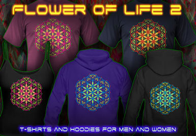 Lifeflower T-Shirts and hoodies with a black-light reactive neon color print