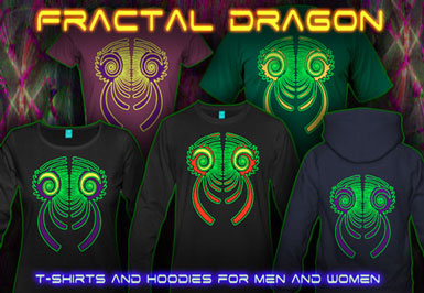 Fractal Dragon T-Shirts and hoodies with a black-light reactive neon color print