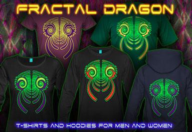 Fractal Dragon T-shirts et vestes à capuches avec une lumière noire réactive impression couleur de néon
