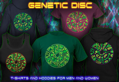 Vêtements lumière noire | Genetic Disc T-shirts et vestes à capuches avec une impression fluorescent