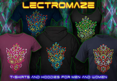 Lectromaze T-Shirts and hoodies with a black-light reactive neon color print