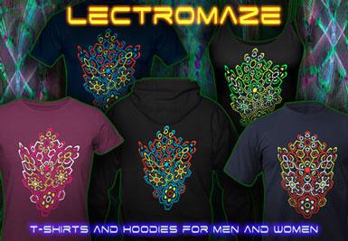 Lectromaze T-shirts et vestes à capuches avec une lumière noire réactive impression couleur de néon