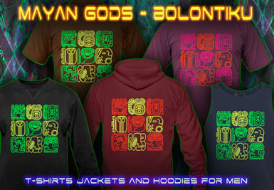 Bolontiku Tiki T-Shirts and hoodies with a black-light reactive neon color print