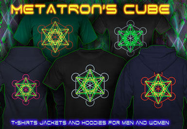 Metatron Cube T-Shirts and hoodies with a black-light reactive neon color print