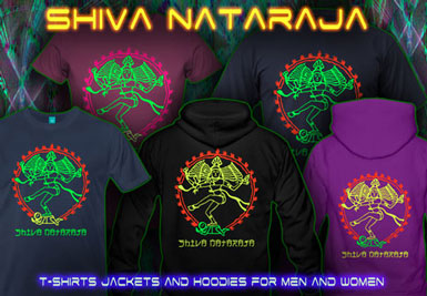 Shiva Nataraja T-Shirts and hoodies with a black-light reactive neon color print