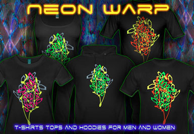 Neon Warp T-Shirts and hoodies with a black-light reactive neon color print