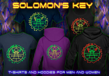 Solomon's Key T-Shirts and hoodies with a black-light reactive neon color print
