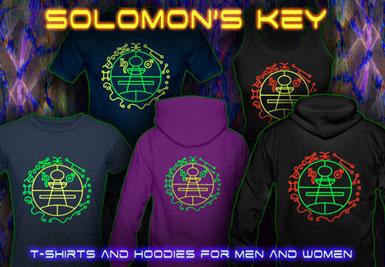 Solomon's Key T-shirts et vestes à capuches avec une lumière noire réactive impression couleur de néon