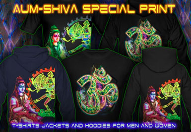 Aum Shiva T-Shirts and hoodies with a black-light reactive neon color print