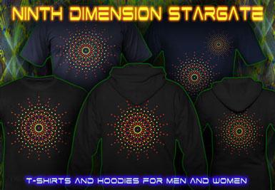 Ninth Dimension Stargate T-shirts et vestes à capuches avec une lumière noire réactive impression couleur de néon