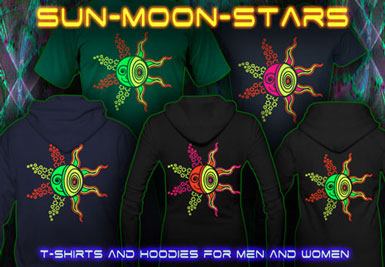 Sun Moon Stars T-Shirts and hoodies with a black-light reactive neon color print