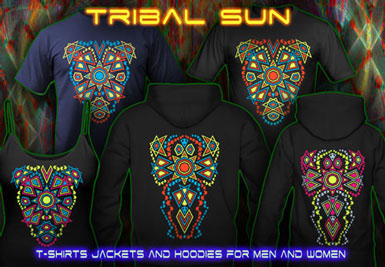 Blacklight Clothing | Tribal Sun T-Shirts and hoodies with a black-light reactive neon color print