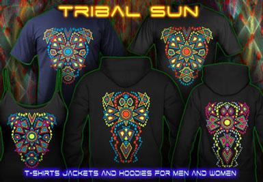 Tribal Sun T-shirts et vestes à capuches avec une lumière noire réactive impression couleur de néon