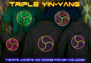Triple Yin Yang T-Shirts and hoodies with a black-light reactive neon color print