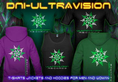 DNI-Ultravision T-Shirts and hoodies with a black-light reactive neon color print