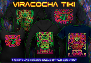 Blacklight Clothing | Viracoha Tiki T-Shirts and hoodies with a black-light reactive neon color print