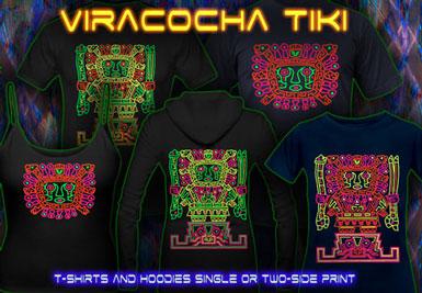 Camiseta psytrance | Viracoha Tiki T-shirt e hoodies com uma luz negra neon reativa impressão
