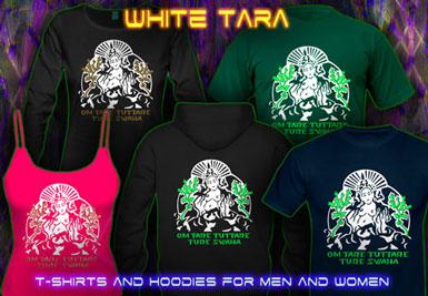 Tara Samaya T-Shirts and hoodies with a black-light reactive neon color print