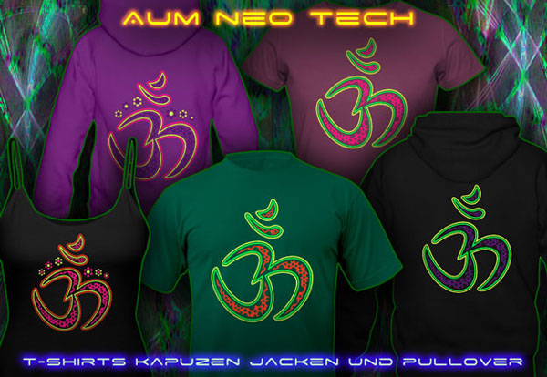Aum Neo T-Shirts und Kapuzenpullis mit Schwarzlicht -reaktive Neonfarben