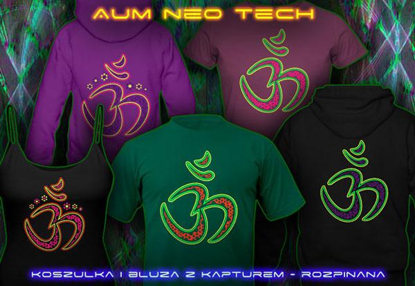 Aum Neo T-shirty i Bluzy z kapturem z czarno-światła reaktywnych neonowe kolory