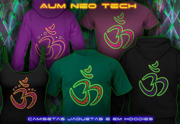 Aum Neo | Roupa Psytrance T-shirt e Hoodie com cores neon reativas Preto-luz