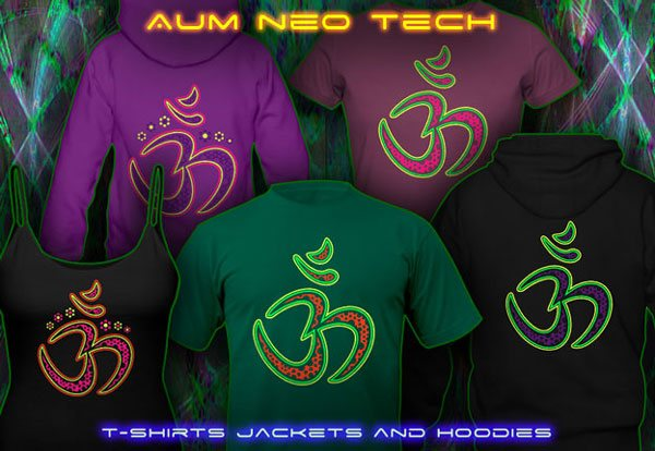 Aum neo t-shirts and hoodies, psytrance clothing  with black-light reactive neon colors