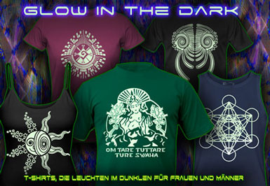Glow in the Dark T-Shirts and hoodies with a black-light reactive neon color print