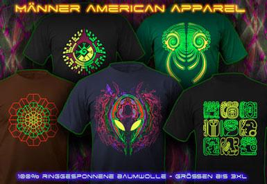 psywear604 American Apparel Schwarzlicht UV T-Shirts für Herren