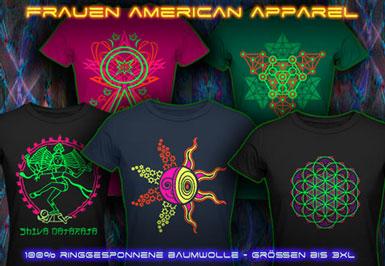 psywear604 American Apparel Schwarzlicht UV T-Shirts für Damen