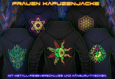 psywear604 Schwarzlicht Kleidung | Kapuzen Jacken für Frauen