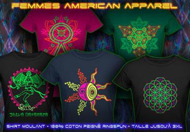 psywear604 american apparel t-shirts pour femmes