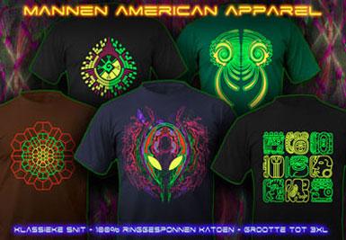 psytrance zwart licht kleding | american apparel t-shirts voor mannen