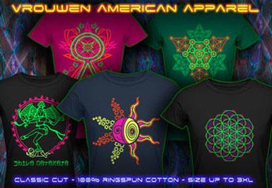psytrance zwart licht kleding | american apparel t-shirts voor vrouwen